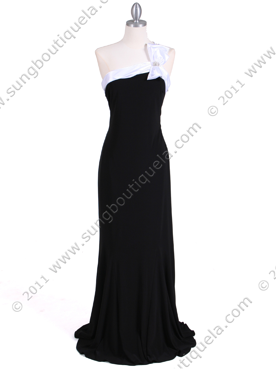 6263 Black White One Shoulder Evening Dress - Front Image