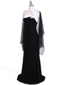 6263  Black White One Shoulder Evening Dress - Alt. Image
