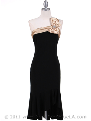6264 Black Gold One Shoulder Cocktail Dress, Black Gold