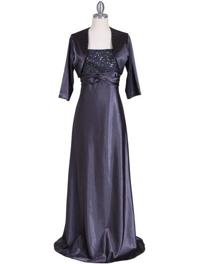 6265 Charcoal Sequins Evening Dress with Bolero Jacket - Charcoal, Front View Medium