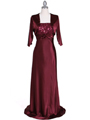 6265 Wine Sequins Evening Dress with Bolero Jacket - Wine, Front View Thumbnail