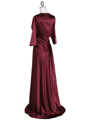 6265 Wine Sequins Evening Dress with Bolero Jacket - Wine, Back View Thumbnail