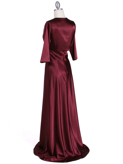 6265 Wine Sequins Evening Dress with Bolero Jacket - Wine, Back View Medium