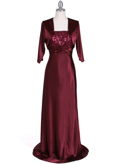 6265 Wine Sequins Evening Dress with Bolero Jacket - Wine, Front View Medium