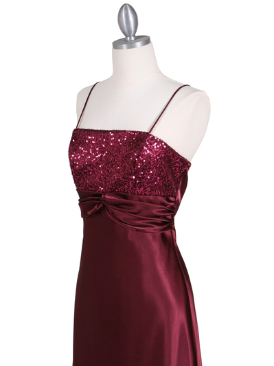 6265 Wine Sequins Evening Dress with Bolero Jacket - Wine, Alt View Medium