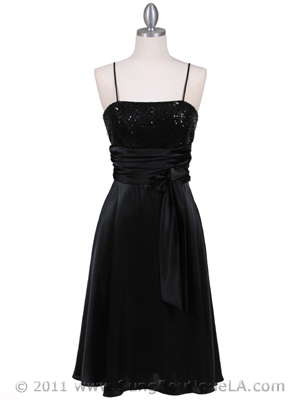 6269 Black Giltter Tea Length Dress, Black
