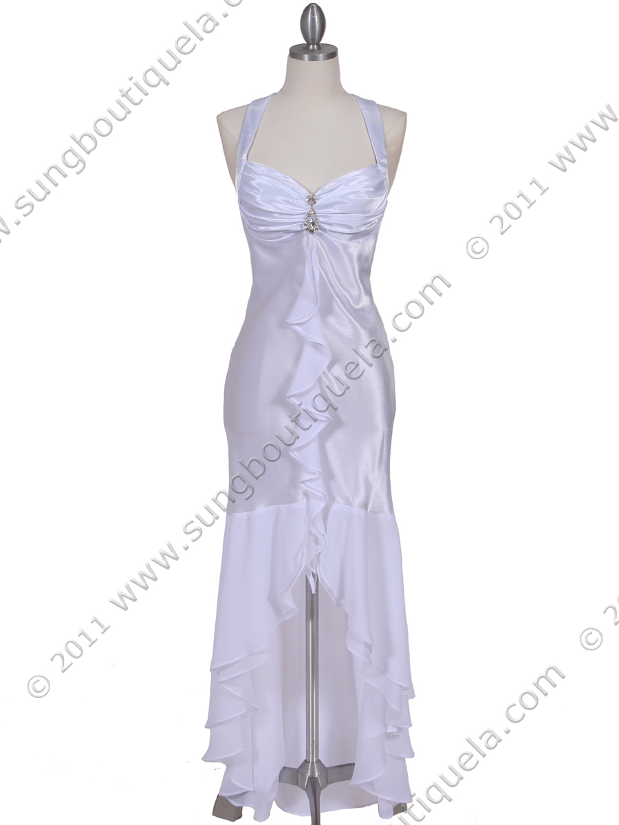 6271 White Evening Dress with Rhinestone Pin - Front Image