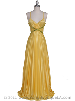 6292 Yellow Pleated Evening Gown, Yellow