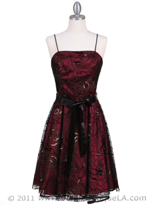 6305 Wine Lace Tea Length Dress, Wine