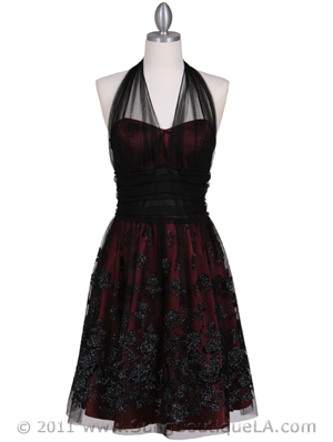 6316 Wine Lace Cocktail Dress, Wine