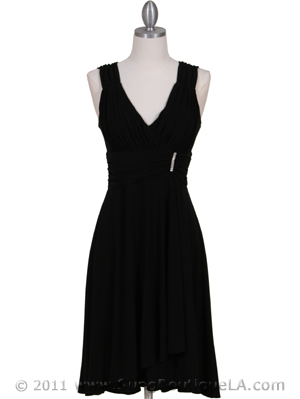 6345 Black Cocktail Dress with Rhinestone Pin, Black