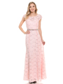 70-5131 Cap Sleeves Long Evening Dress - Blush, Front View Thumbnail
