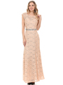70-5131 Cap Sleeves Long Evening Dress - Gold, Front View Thumbnail