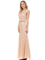 70-5131 Cap Sleeves Long Evening Dress - Gold, Back View Thumbnail