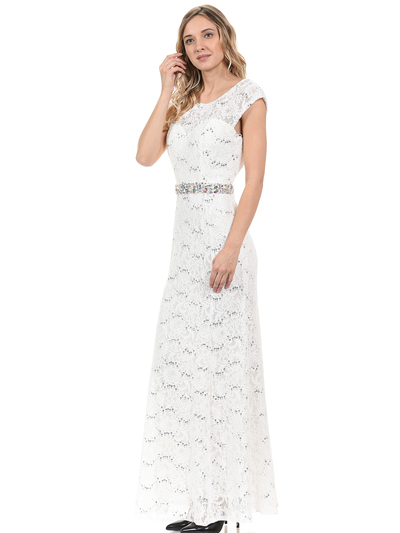 70-5131 Cap Sleeves Long Evening Dress - Ivory, Back View Medium
