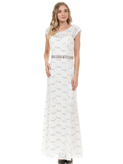 70-5131 Cap Sleeves Long Evening Dress - Ivory, Front View Medium