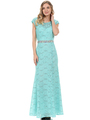 70-5131 Cap Sleeves Long Evening Dress - Mint, Front View Thumbnail
