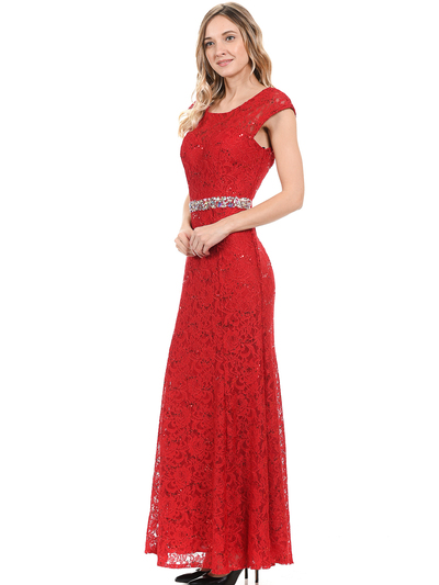70-5131 Cap Sleeves Long Evening Dress - Red, Back View Medium
