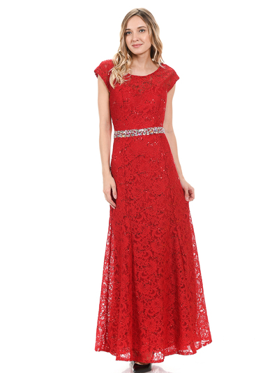 70-5131 Cap Sleeves Long Evening Dress - Red, Front View Medium