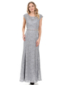 70-5131 Cap Sleeves Long Evening Dress - Silver, Front View Thumbnail