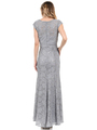 70-5131 Cap Sleeves Long Evening Dress - Silver, Back View Thumbnail