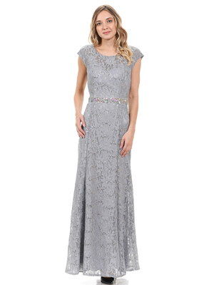 70-5131 Cap Sleeves Long Evening Dress, Silver