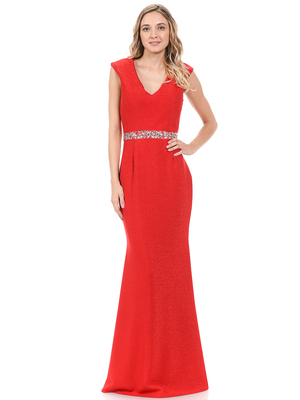 70-5132 V-Neck Long Evening Dress with Sparkling Trim, Red