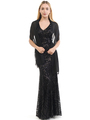 70-5150 Sleeveless V-Neck Sequin Evening Dress - Black, Front View Thumbnail