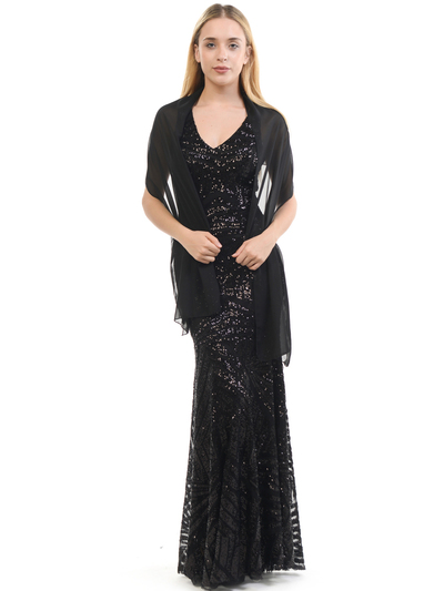 70-5150 Sleeveless V-Neck Sequin Evening Dress - Black, Front View Medium