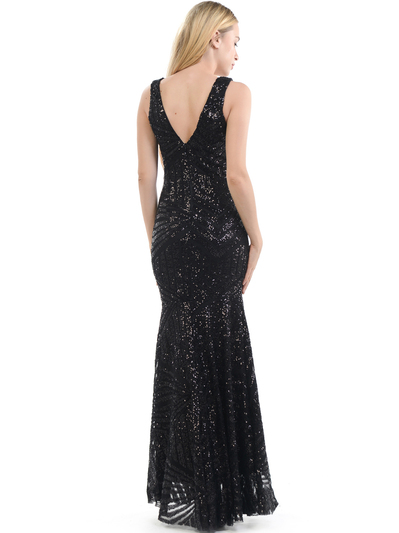70-5150 Sleeveless V-Neck Sequin Evening Dress - Black, Alt View Medium