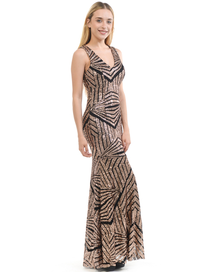 70-5150 Sleeveless V-Neck Sequin Evening Dress - BlackBronze, Back View Medium