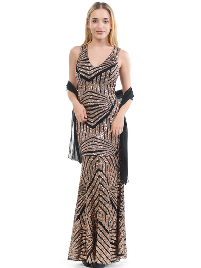 70-5150 Sleeveless V-Neck Sequin Evening Dress - BlackBronze, Front View Medium