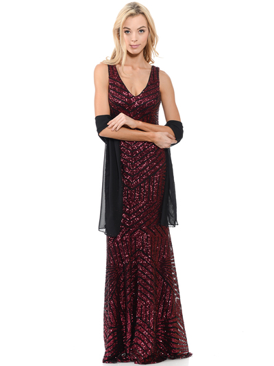 70-5150 Sleeveless V-Neck Sequin Evening Dress - Burgundy, Front View Medium
