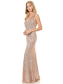 70-5150 Sleeveless V-Neck Sequin Evening Dress - Gold, Front View Thumbnail