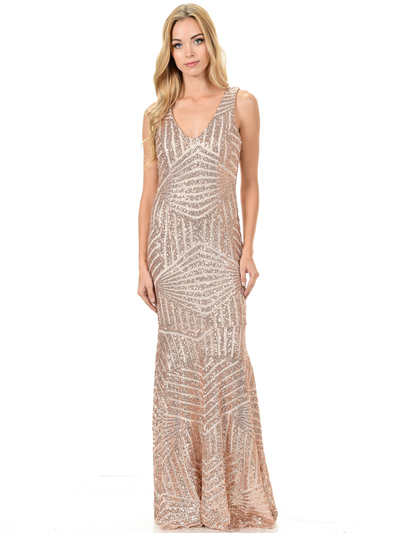70-5150 Sleeveless V-Neck Sequin Evening Dress - Gold, Back View Medium