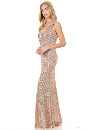 70-5150 Sleeveless V-Neck Sequin Evening Dress - Gold, Front View Medium