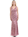 70-5150 Sleeveless V-Neck Sequin Evening Dress - Pink, Front View Thumbnail