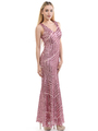 70-5150 Sleeveless V-Neck Sequin Evening Dress - Pink, Back View Thumbnail