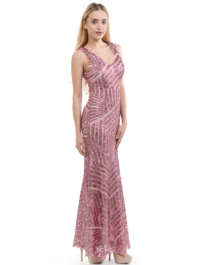 70-5150 Sleeveless V-Neck Sequin Evening Dress - Pink, Back View Medium