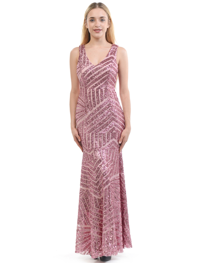 70-5150 Sleeveless V-Neck Sequin Evening Dress - Pink, Front View Medium