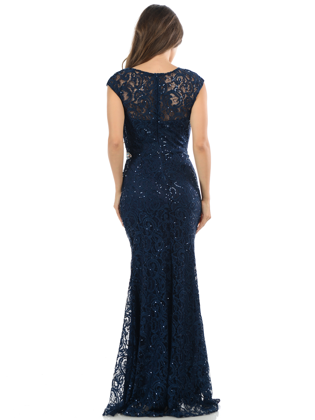 Cap Sleeves Lace Overlay Long Evening Dress Sung