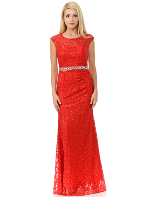 70-5152 Cap Sleeves Lace Overlay Long Evening Dress, Red