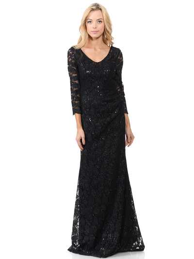 70-5162 Three-Quarter Sleeve Mother of the Bride Evening Dress - Black, Back View Medium