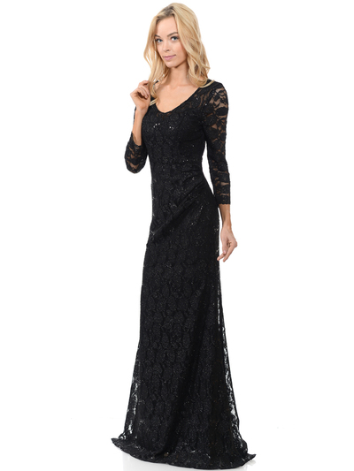 70-5162 Three-Quarter Sleeve Mother of the Bride Evening Dress - Black, Front View Medium