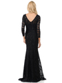 70-5162 Three-Quarter Sleeve Mother of the Bride Evening Dress - Black, Alt View Thumbnail