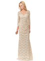 70-5162 Three-Quarter Sleeve Mother of the Bride Evening Dress - Gold, Back View Thumbnail