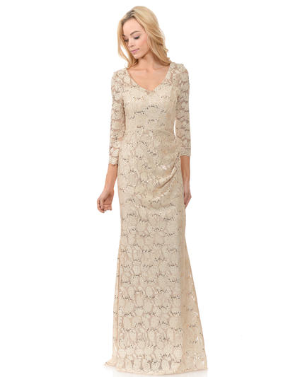 70-5162 Three-Quarter Sleeve Mother of the Bride Evening Dress - Gold, Back View Medium