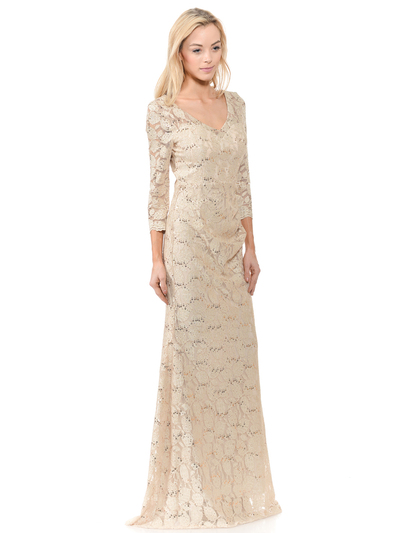 70-5162 Three-Quarter Sleeve Mother of the Bride Evening Dress - Gold, Front View Medium