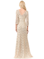 70-5162 Three-Quarter Sleeve Mother of the Bride Evening Dress - Gold, Alt View Thumbnail