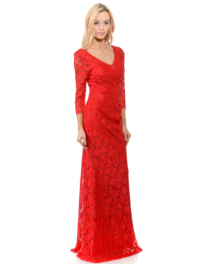 70-5162 Three-Quarter Sleeve Mother of the Bride Evening Dress - Red, Back View Medium